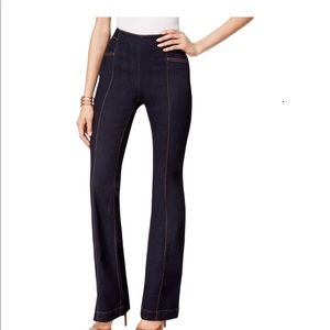 flared jeans with the zipper in the back.